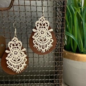 Leather Tear Drop Earrings with Lace